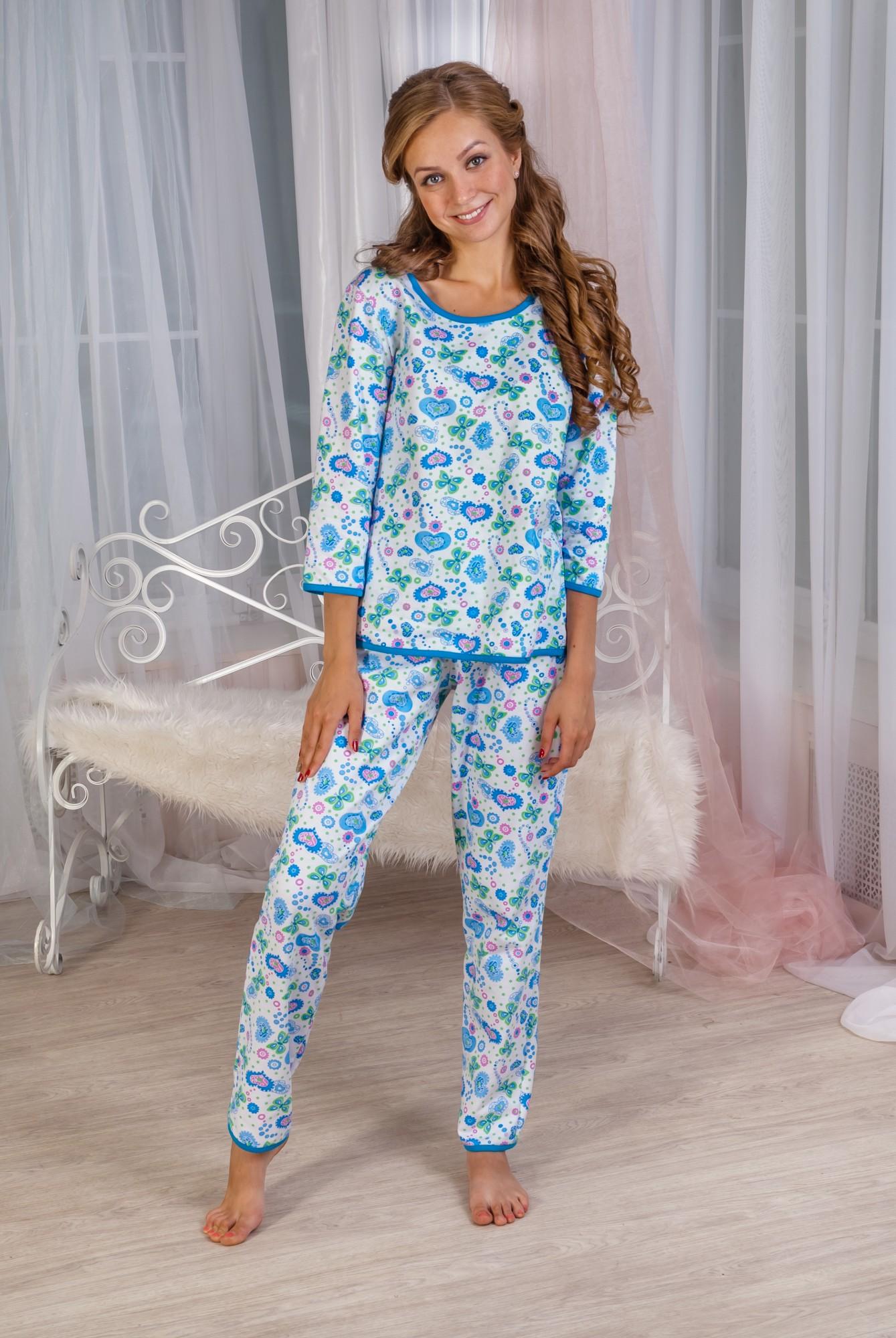 Пижама женская Инна кофта и брюкиКоллекция ОСЕНЬ-ЗИМА<br><br><br>Размер: 44