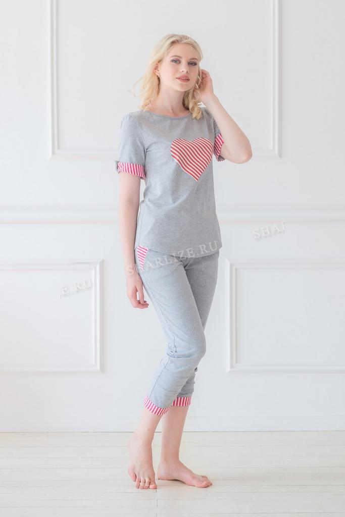 Костюм женский Карамельное сердце брюки + топДомашние комплекты, костюмы<br><br><br>Размер: 48