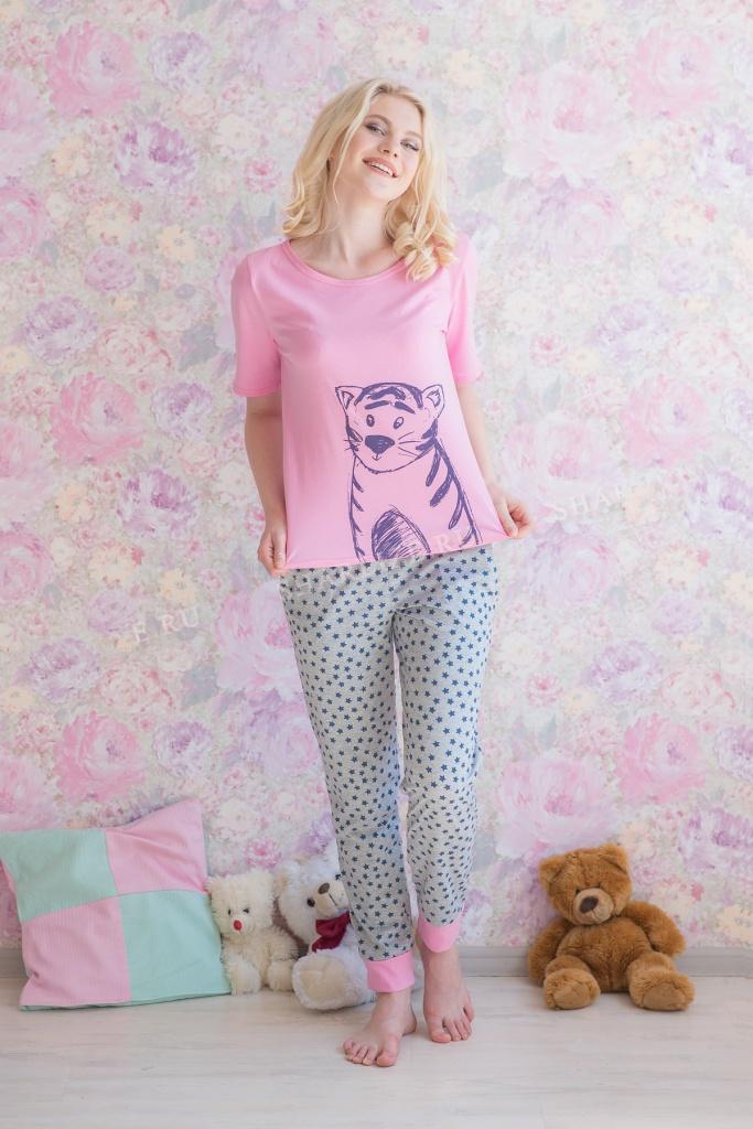 Костюм женский Тигрёнок футболка + брюкиДомашние комплекты, костюмы<br><br><br>Размер: 50