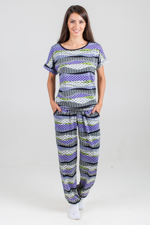 Костюм женский Валерия-2 футболка и брюкиДомашняя одежда<br><br><br>Размер: 50