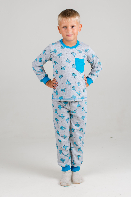 Пижама детская для мальчика Зайка-1 с длинным рукавомХалаты и пижамы<br><br><br>Размер: 30 (рост 116 см)
