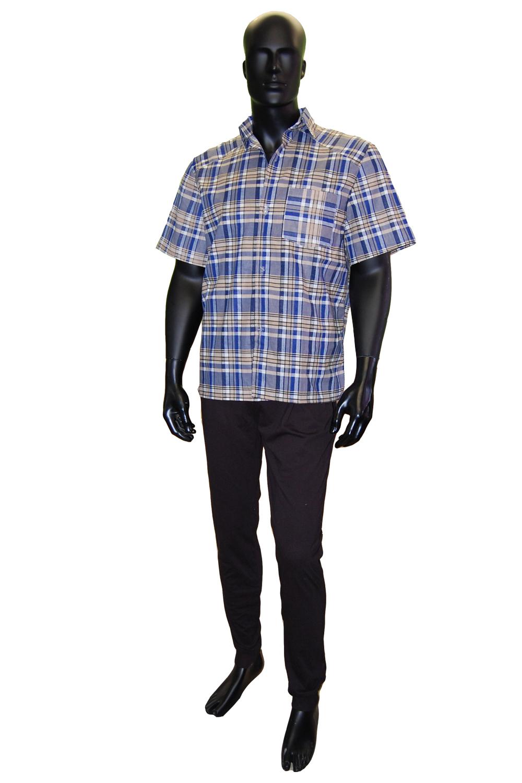 Рубашка мужская Миша короткий рукав, бязьРубашки<br><br><br>Размер: Синий