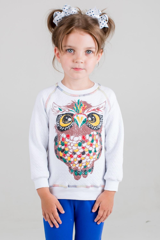 Свитшот детский для девочки СоваСвитеры, водолазки, джемперы<br><br><br>Размер: 34 (рост 128 см)