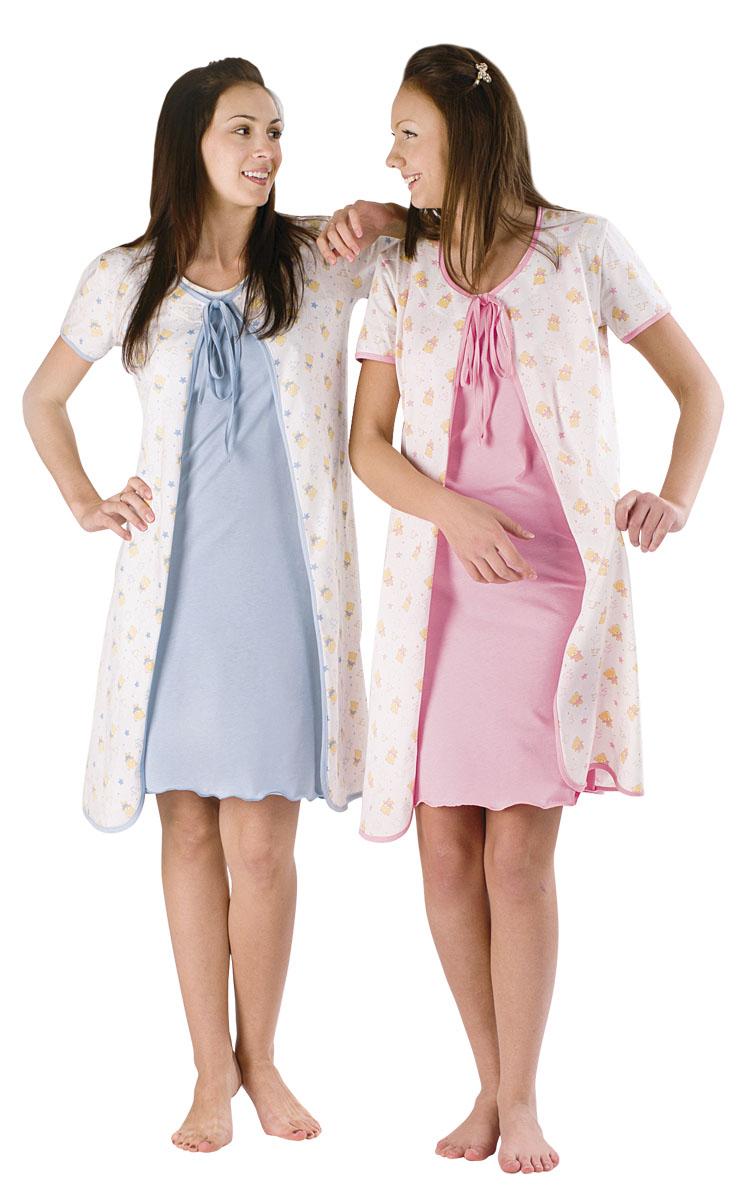 Комплект женский Домашний голубойСорочки<br><br><br>Размер: Розовый