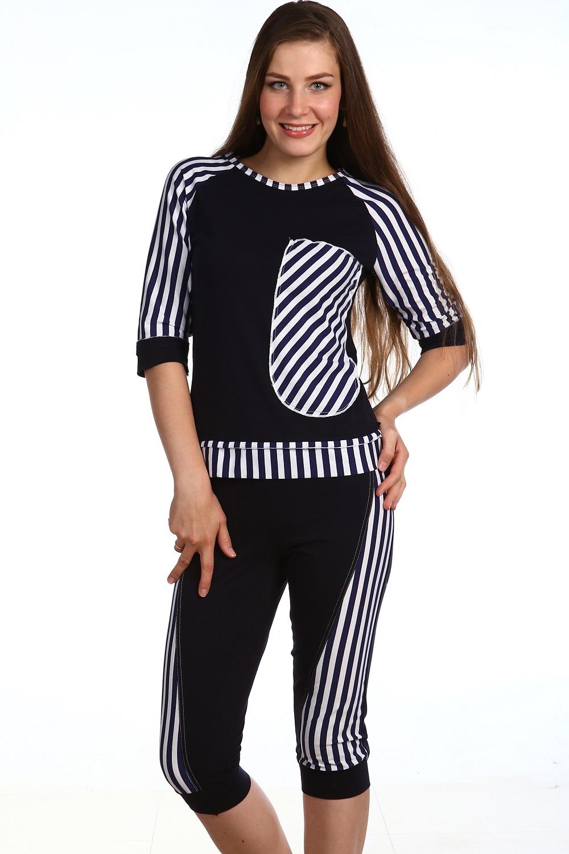 Костюм женский Зебра футболка и бриджиКостюмы<br><br><br>Размер: 50