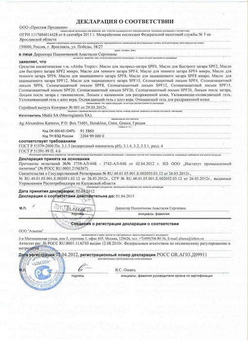Венера март Масло для Загара Сертификат