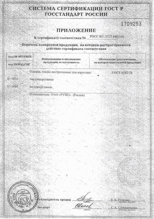 Венера март: Сертификат на пледы пестротканные