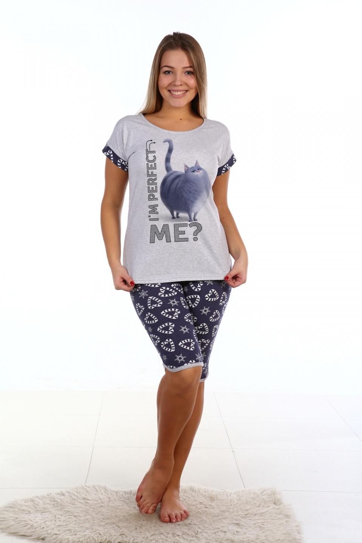 """Пижама женская """"Совершенство"""" футболка и бриджи AT-W-Sch-165"""