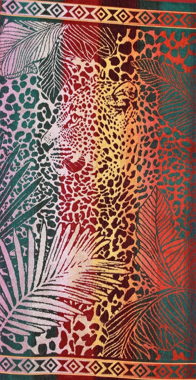 """Полотенце махровое жаккардовое """"Леопард в джунглях"""" банное"""