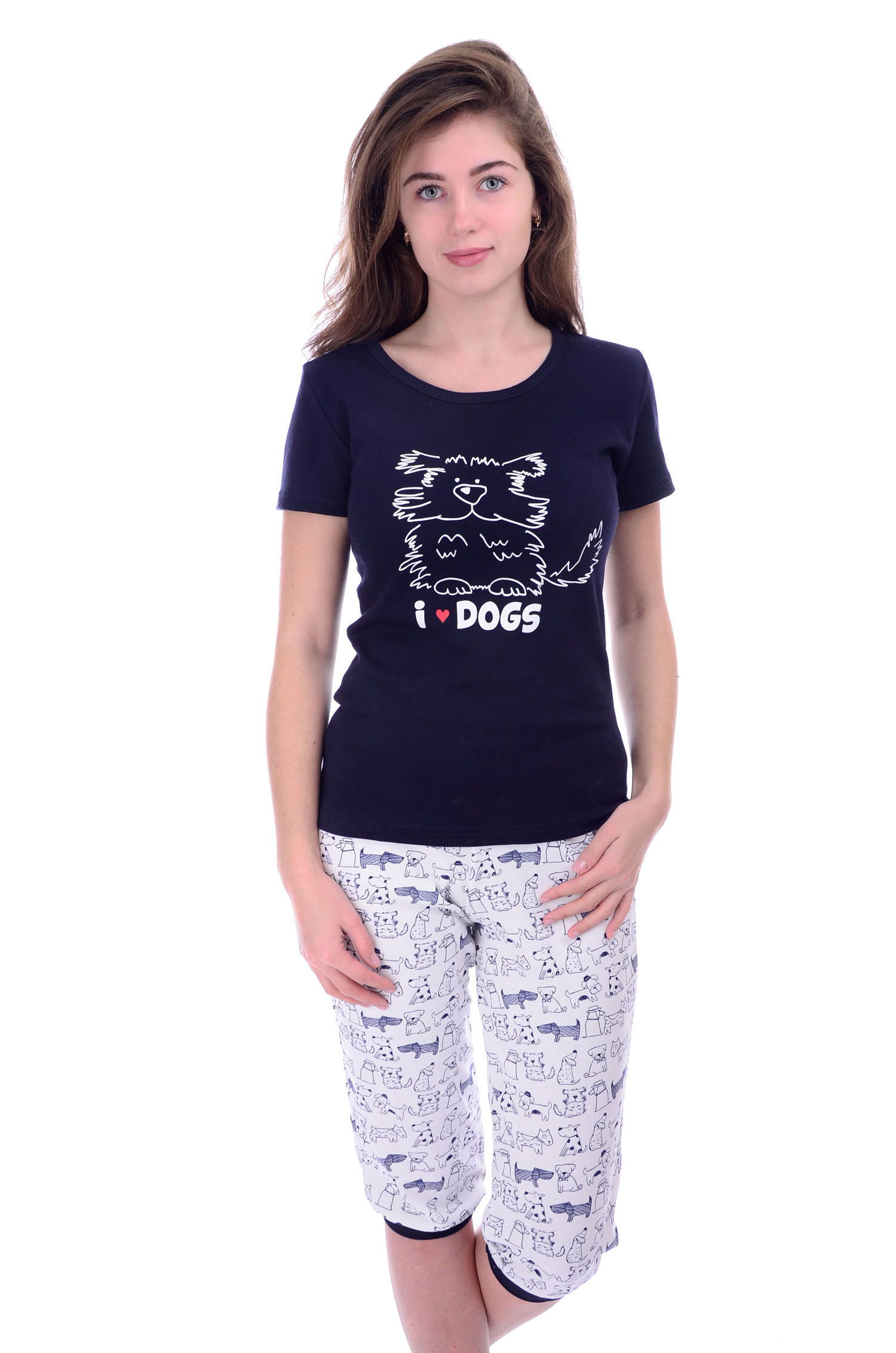 "Пижама женская ""Ириска"" футболка и бриджи MAL-W-Pj-243"