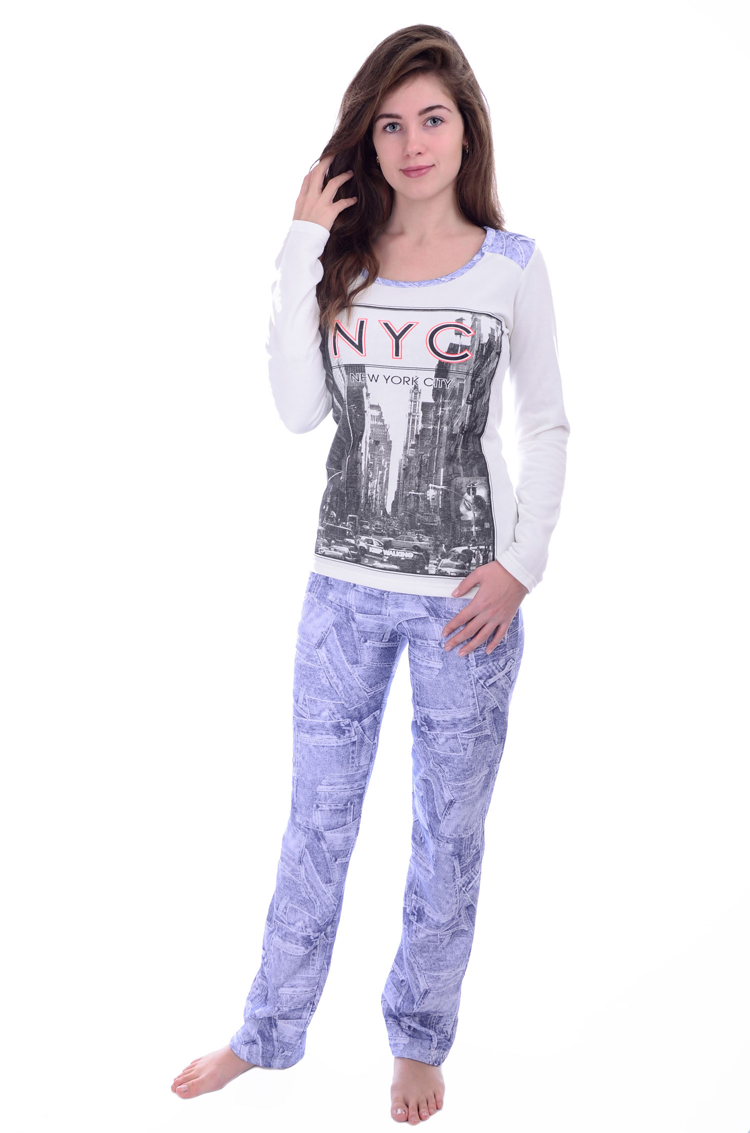 "Пижама женская ""Нью-Йорк"" кофта и брюки MAL-W-Pj-242"