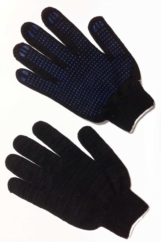 Перчатки чёрные 10 нитка с ПВХ-протектор (3 пары в упаковке)