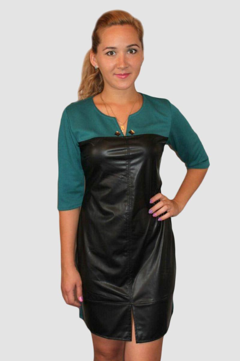 """Платье женское """"Элеонора"""" зеленое с рукавом до локтя"""