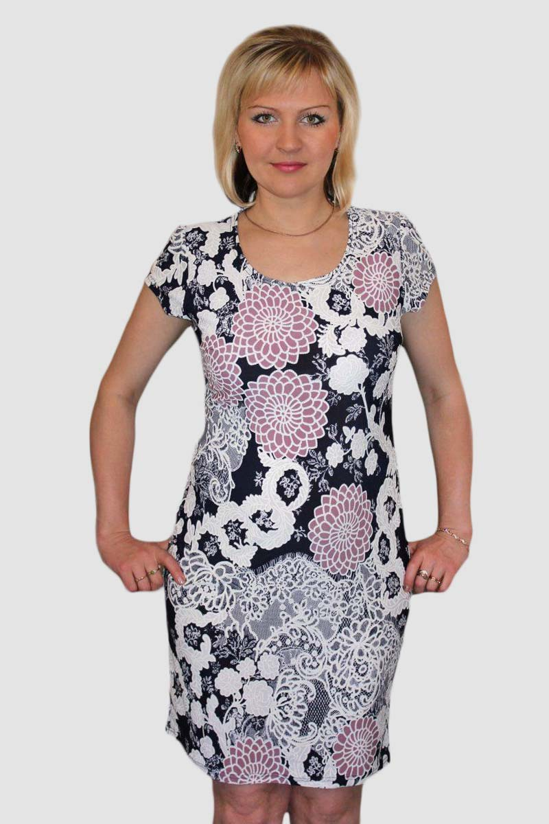 """Платье женское """"Цветы Флок"""" с коротким рукавом"""