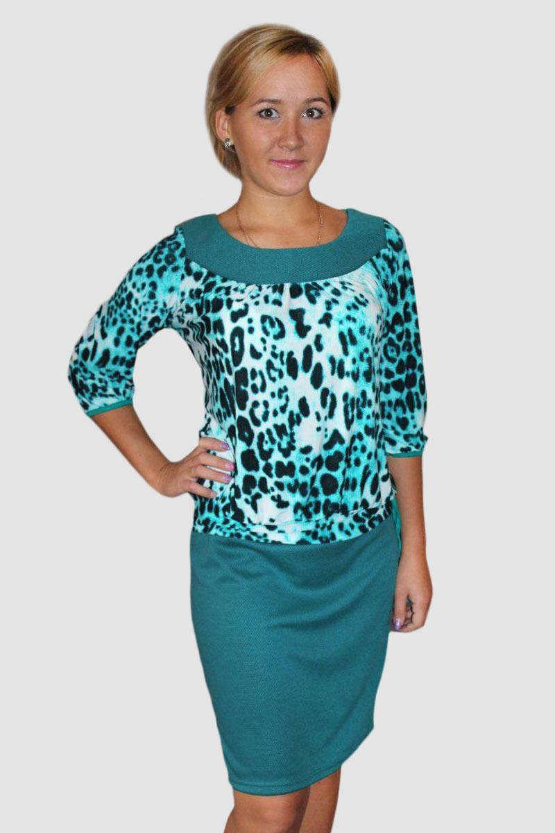 """Платье женское """"Леопардовый принт"""" с рукавом 3\4"""