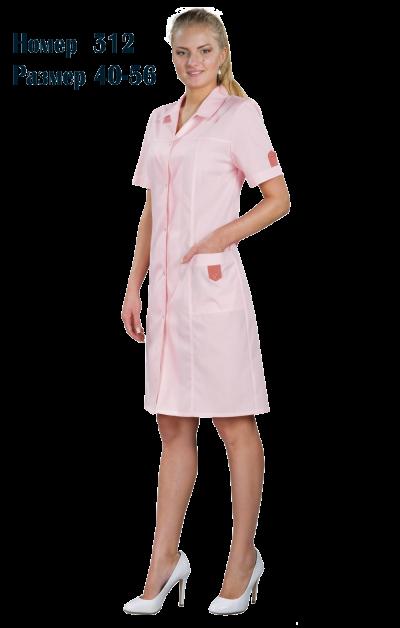 Халат женский медицинский до колена с коротким рукавом №312 STP-312