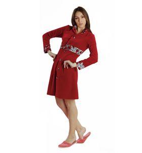 """Халат женский """"Красная роза"""" на пуговицах с длинным рукавом"""