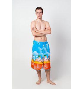 Полотенце-накидка мужская  на липучке вафельное