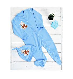 """Комплект для малышей """"Бэмби голубой"""" комбинезон и шапочка"""