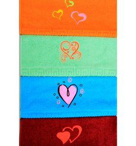 """Полотенце махровое """"Сердца"""" с вышивкой 50х90 см"""