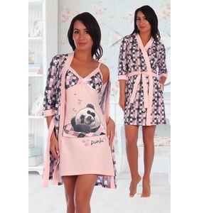 """Пеньюар женский """"Бамбуковый рай"""" сорочка и халат"""