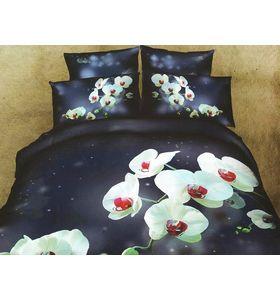 """""""Ночная орхидея"""" - комплект постельного белья из сатина с 4 наволочками"""