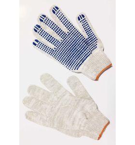 Перчатки белые 10 нитка с ПВХ-протектор (3 пары в упаковке)