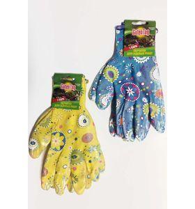 Перчатки садовые цветные прорезиненные (1 пара)