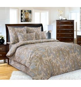 """Комплект постельного белья """"Кашмир 1"""" коричневый из сатина"""
