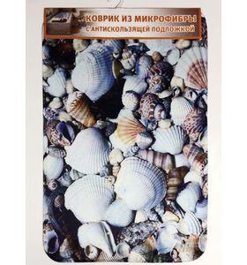 """Коврик для ванной """"Ракушки"""" из микрофибры с антискользящей подложкой (50х80 см)"""