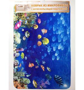 """Коврик для ванной """"Подводный мир"""" из микрофибры с антискользящей подложкой (50х80 см)"""