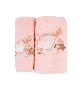 """Набор махровых полотенец """"Веер с бабочками"""" в упаковке, 2 шт."""