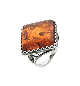 """Кольцо женское """"Тайна"""" с искусственным янтарём"""