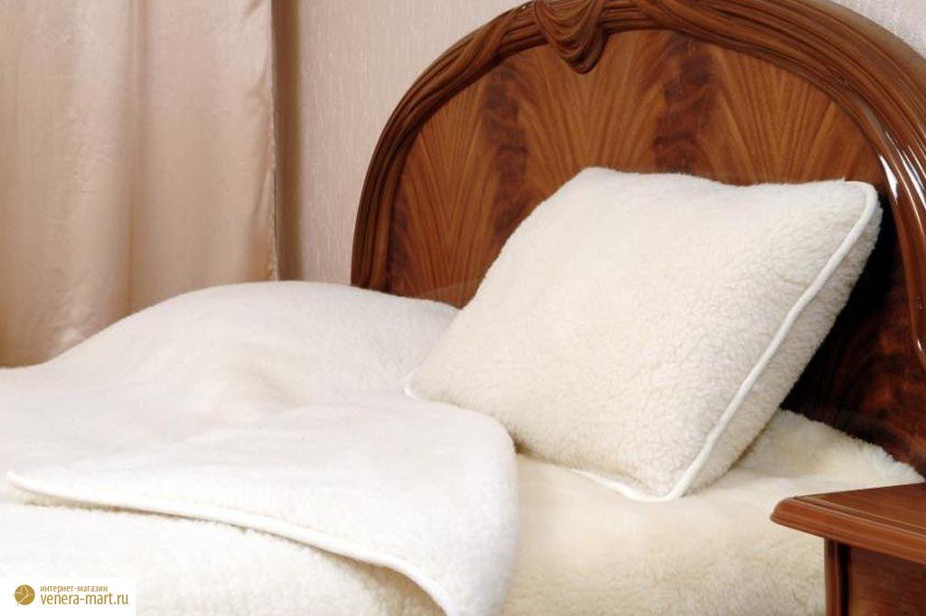 Подушка меринос белая из натуральной шерсти